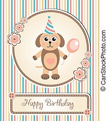 greeting template cute children s birthday party, cartoon dog puppy