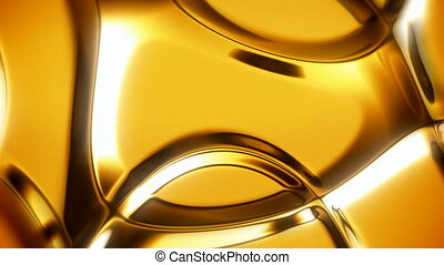 Gold abstract background with soft folds seamless loop -...