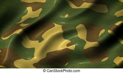 Slow waving camouflage fabric motion background seamless loop