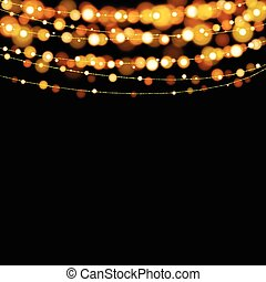 Christmas lights design elements background. Glowing lights for Xmas Holiday greeting card design.