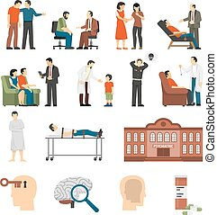 Psychologist Counselings Icons Set - Flat color icons set...