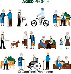 Old Age People Set - Male and female old age people in...