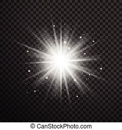 White glowing light burst explosion with transparent. Vector...
