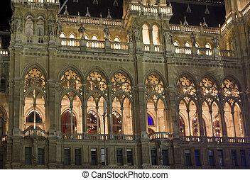 Vienna Town Hall, Rathaus - Architectural close up of Vienna...