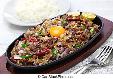 pork sisig, filipino cuisine - sizzling pork sisig, filipino...