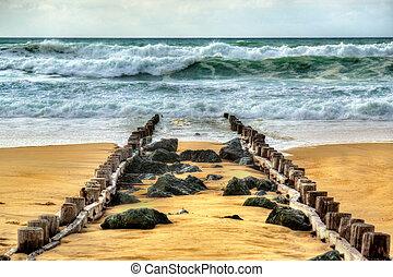 Beach on the Atlantic Ocean near Seignosse - France,...
