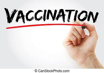 vacunación, marcador, mano, escritura