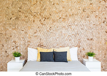 Bedroom with corkboard - Modern eco-friendly bedroom with...