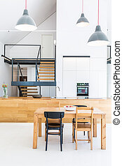 Modern house with wooden furnitures - Minimal modern house...