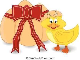 cartoon duck hatching - baby duck hatching and standing with...