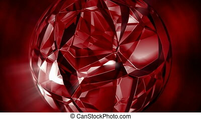 Rotating ruby crystal motion background seamless loop -...