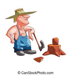 Cartoon farmer or redneck - Colorful vector illustration of...