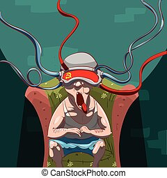 Brainwashed by social media - Colorful vector illustration...