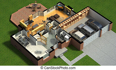 Isometric view of a furnished house - 3D illustration of a...