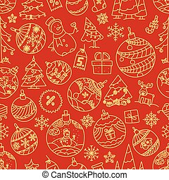 Christmas seamless background with different holiday symbols