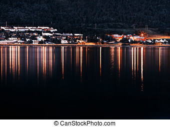Night Tromso community with lights reflections background hd