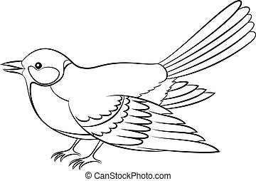 Bird Titmouse Isolated Contours - Realistic Cartoon Bird...
