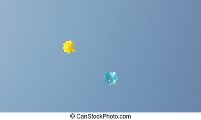 Colored balloons in the air - Yellow blue balloons flying in...