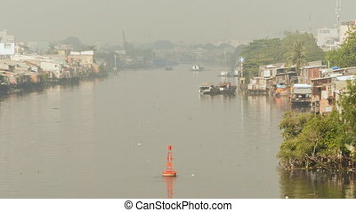 Slum on the river. Saigon. Vietnam. 9 View. - Views of the...