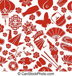 Chinese new year asian culture seamless pattern - Chinese...