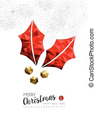 Red mistletoe holly decoration for Christmas