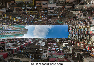 Hong Kong residence apartment, cityscape downtown background