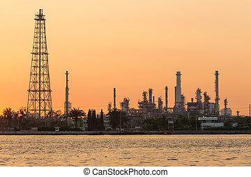 Sunrise tone over Oil refinery
