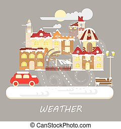 Winter snowstorm weather colorful landscape banner. Snowy...