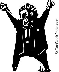 Angry Yelling Boss - Woodcut style expressionist image of an...