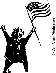 Angry Voter waving flag - Woodcut style expressionist image...