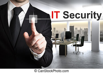businessman pushing button it security - businessman in...