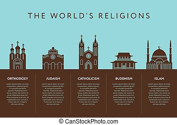 Temples of world different religions. Infographics....