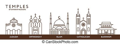 Temples of world different religions. Infographics