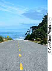 Road and Pacific ocean