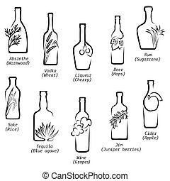 Conceptual icons of alcoholic beverages with the image of...