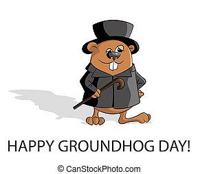 Groundhog day. Marmot in hat with stick and classic clothes....