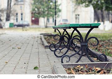 bench in park autumn
