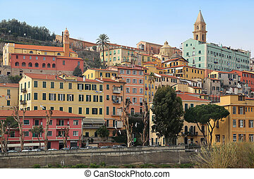 Colorful houses in old town of Ventimiglia, Imperia, Liguria, Italy