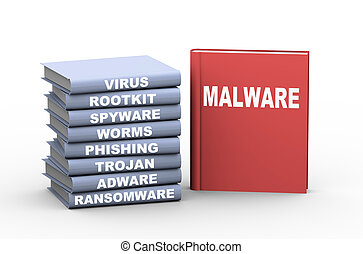 3d malware books - 3d rendering of books showing different...