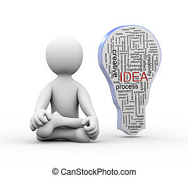3d man in yoga position with idea bulb word tags