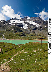 Bernina Alps and White Lake - Poschiavo Switzerland - The...