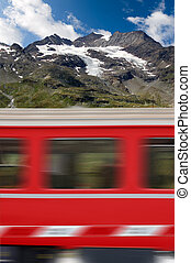 Red Train and Bernina Alps - Switzerland - Red train in...
