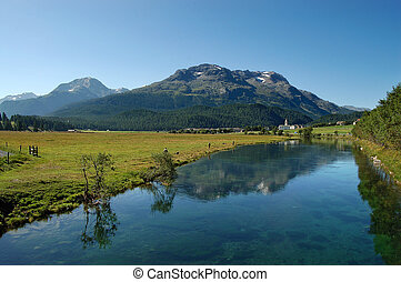 River Inn and Swiss Alps - Engadine Switzerland - Fishermen...