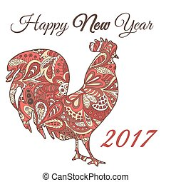 Cock. Symbol 2017. Red Rooster. Oriental pattern. Ornament...