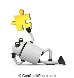 Robot with puzzle. 3d illustration