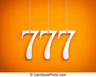 777 - white digits hanging on orange background. 3d...