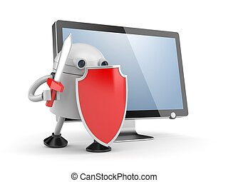 Robot defends the desktop computer. Robot with red shield...