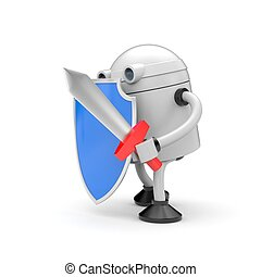 Robot ready to fight. Robot with blue shiled and sword. 3d...