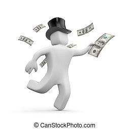 The rich man is in a hurry to spend their money. 3d illustration
