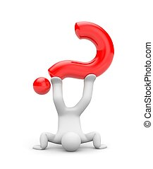 Easy solution to the question or unusual questions. 3d illustration